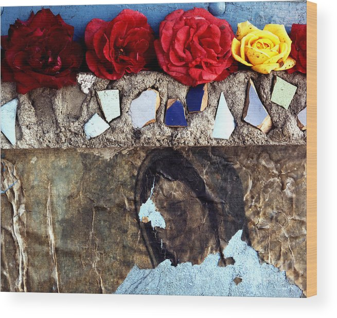 Virgin_mary Wood Print featuring the photograph Roses On A Shrine by Lawrence Costales