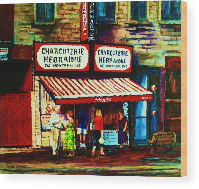 Schwartz Deli Wood Print featuring the painting Schwartzs Famous Smoked Meat by Carole Spandau