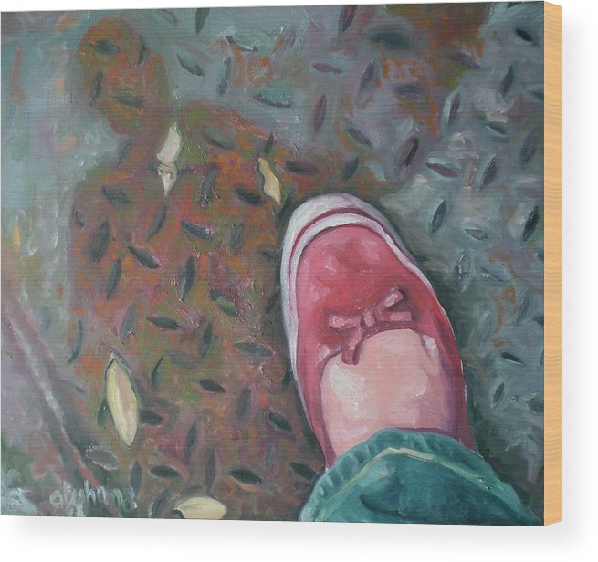 Wood Print featuring the painting Selfportrait Red Shoe by Aleksandra Buha
