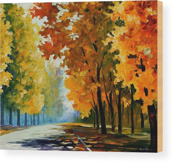 Afremov Wood Print featuring the painting September Morning by Leonid Afremov