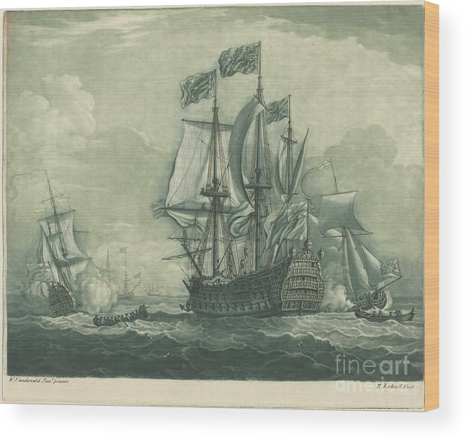 Wood Print featuring the drawing Shipping Scene With Man-of-war by Elisha Kirkall After Willem Van De Velde The Younger