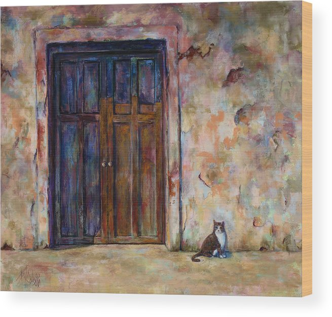 Doorway Wood Print featuring the painting Siesta by Billie Colson