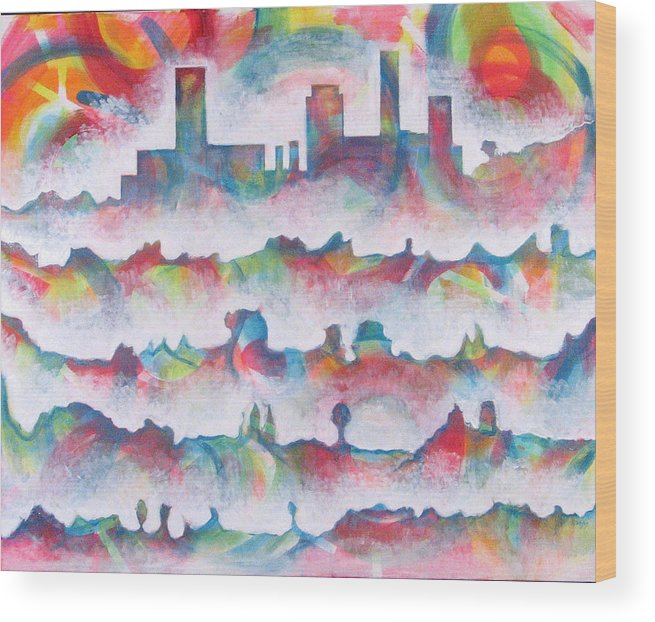 Cityscape Wood Print featuring the painting Skyline by Rollin Kocsis