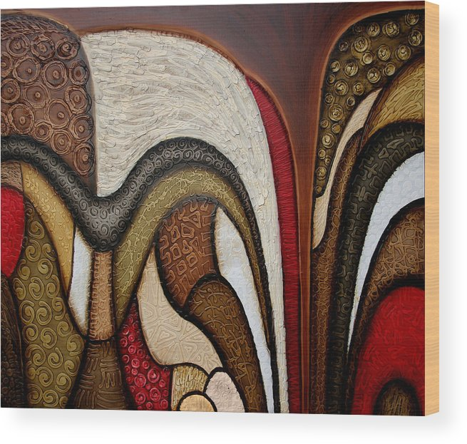 Abstract Art Wood Print featuring the painting Slippery Slope by Jill English