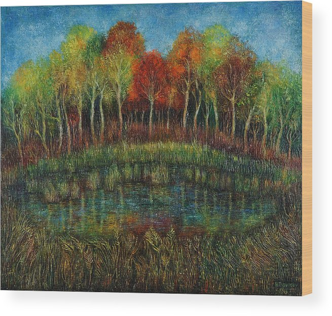 Landscape Wood Print featuring the painting Small Lake. by Evgenia Davidov