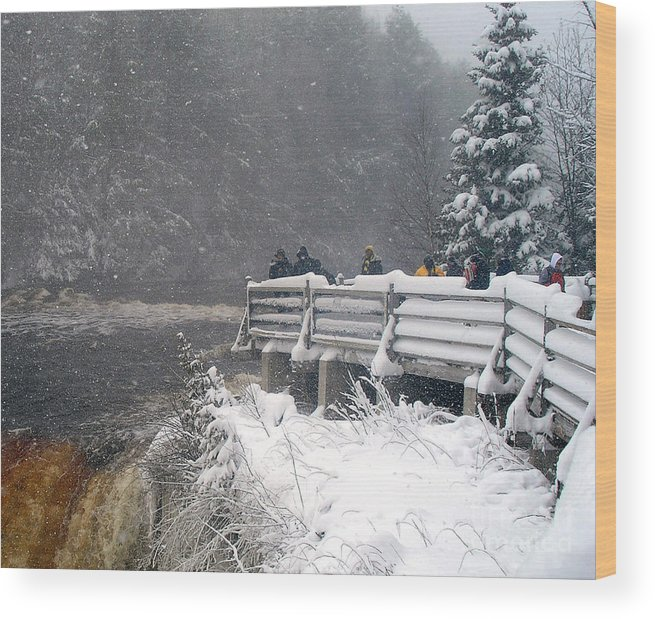 Tahquamenon Falls Wood Print featuring the photograph Snowstorm At The Falls by Scott Heister