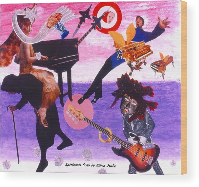 Grand Piano Wood Print featuring the drawing Soap Scene #21 Beggar Belief by Minaz Jantz