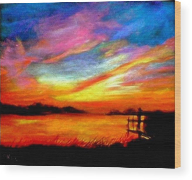 Sunset Wood Print featuring the painting Southern Sunset by Gail Kirtz