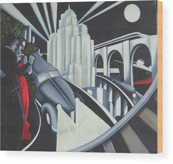 Art Deco Wood Print featuring the painting Speed by Rosie Harper