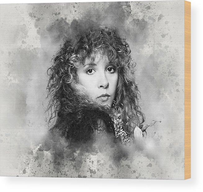 Stevie Nicks Wood Print featuring the digital art Stevie Nicks by Karl Knox Images