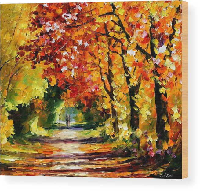 Afremov Wood Print featuring the painting Sunny Path by Leonid Afremov