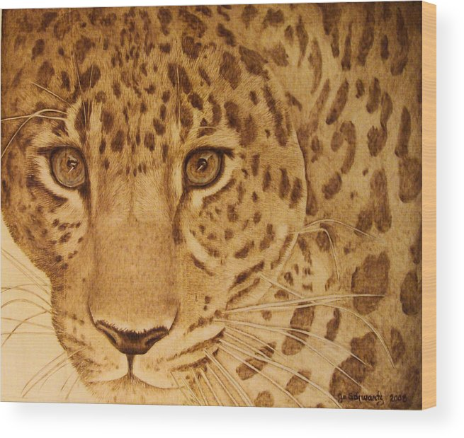 Jaguar; Sepia; Wild Life; Africa; Eyes; Zoo; Cat; Wood Print featuring the pyrography Take One Step Closer by Jo Schwartz