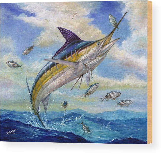 Blue Marlin Wood Print featuring the painting The Blue Marlin Leaping To Eat by Terry Fox