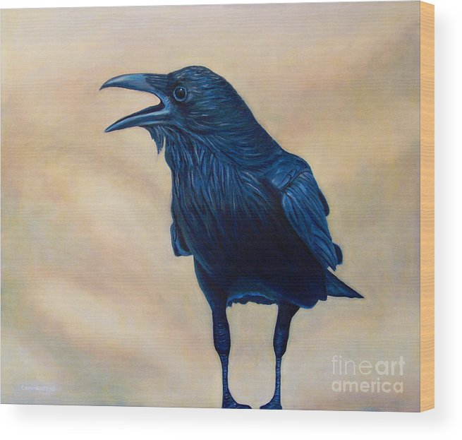 Raven Wood Print featuring the painting The Conversation by Brian Commerford