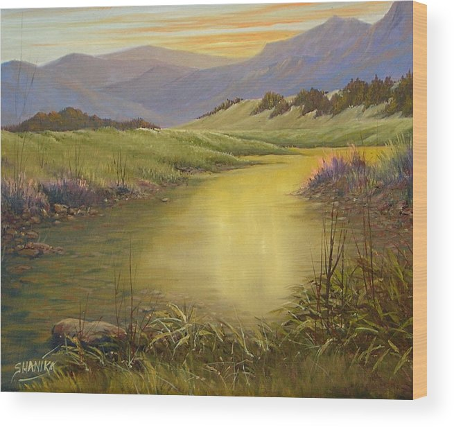 Landscape Wood Print featuring the painting The End Of The Day 070714-79 by Kenneth Shanika