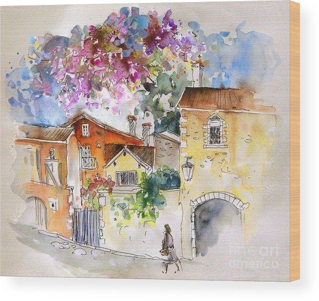 France Paintings Wood Print featuring the painting The Perigord In France by Miki De Goodaboom