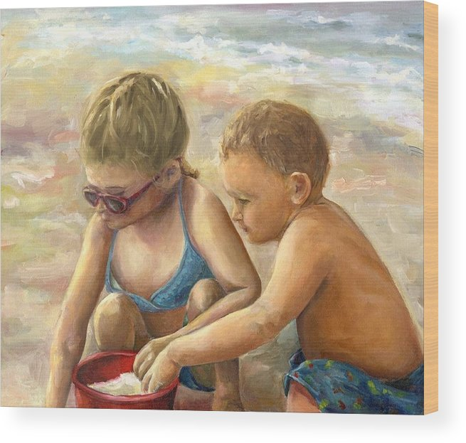 Portrait Wood Print featuring the painting The Red Sand Bucket by Linda Vespasian