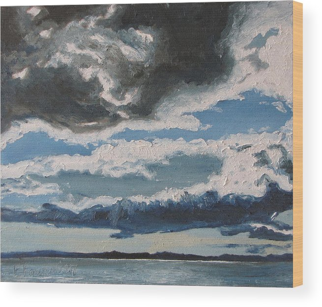 Landscape Wood Print featuring the painting The Saintlawrence Lapocatiere Qc Canada by Francois Fournier