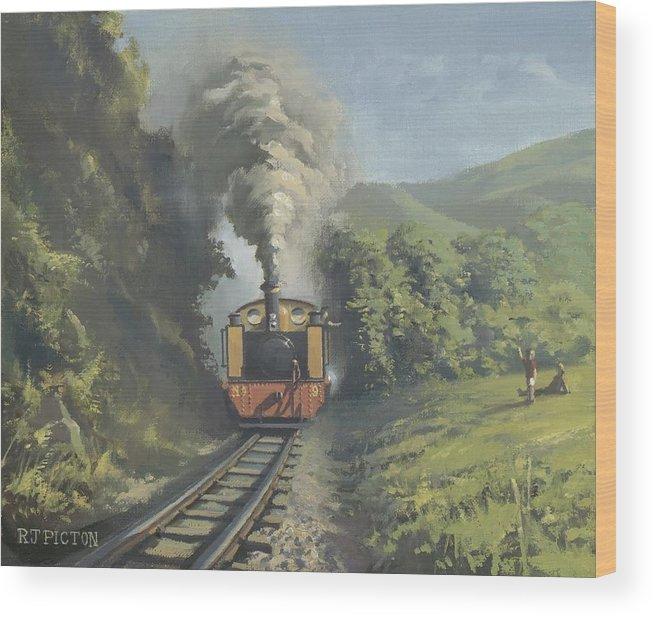 Steam Wood Print featuring the painting The Vale Of Rheidol Railway by Richard Picton