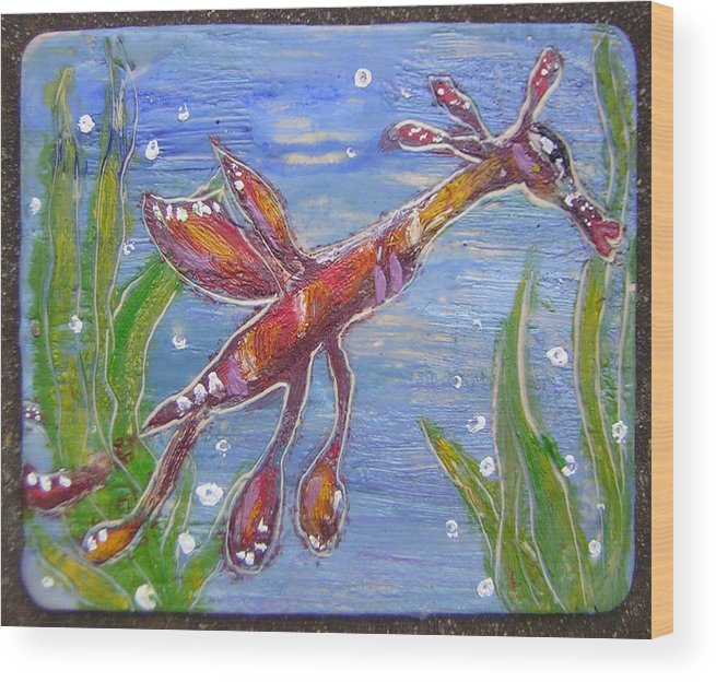 Sea Dragon Wood Print featuring the painting Tiny Anthropomorphic Sea Dragon 2 by Michelley QueenofQueens