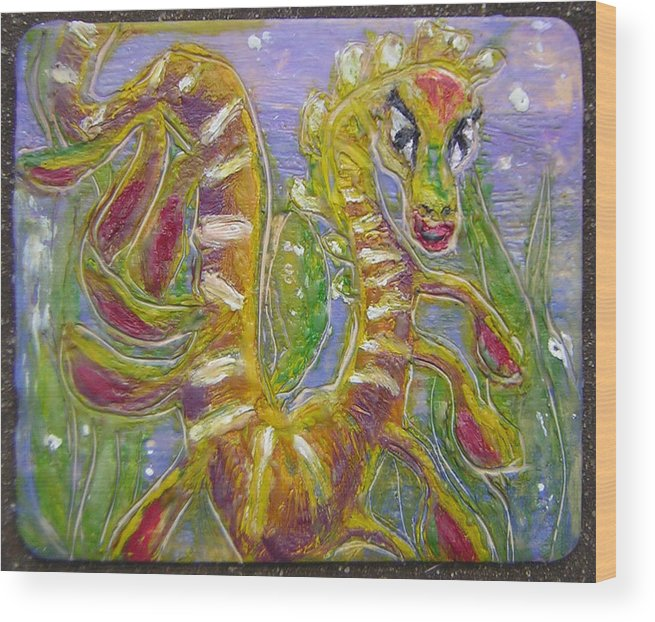 Sea Dragon Wood Print featuring the painting Tiny Anthropomorphic Sea Dragon 3 by Michelley QueenofQueens