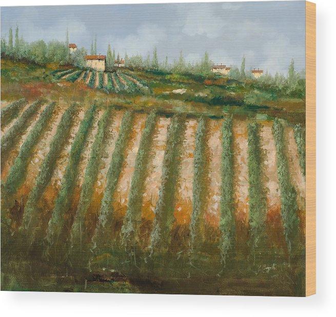 Vineyard Wood Print featuring the painting Tra I Filari Nella Vigna by Guido Borelli