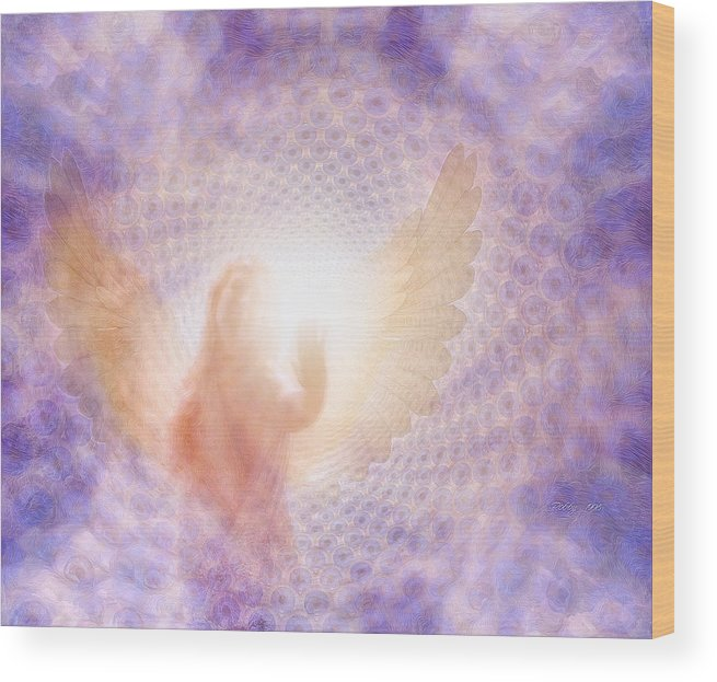 Angel Wood Print featuring the painting Tunel Of Light by Robby Donaghey