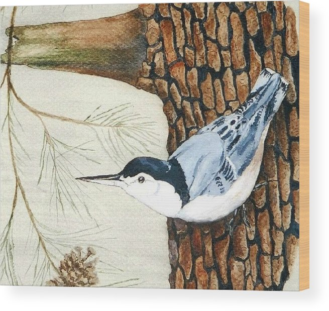 Nuthatch Wood Print featuring the painting Upside Down by Debra Sandstrom