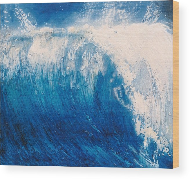 Oil Painting Wood Print featuring the painting wave VI by Martine Letoile