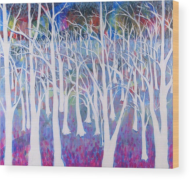 White Wood Print featuring the painting White Forest by Rollin Kocsis