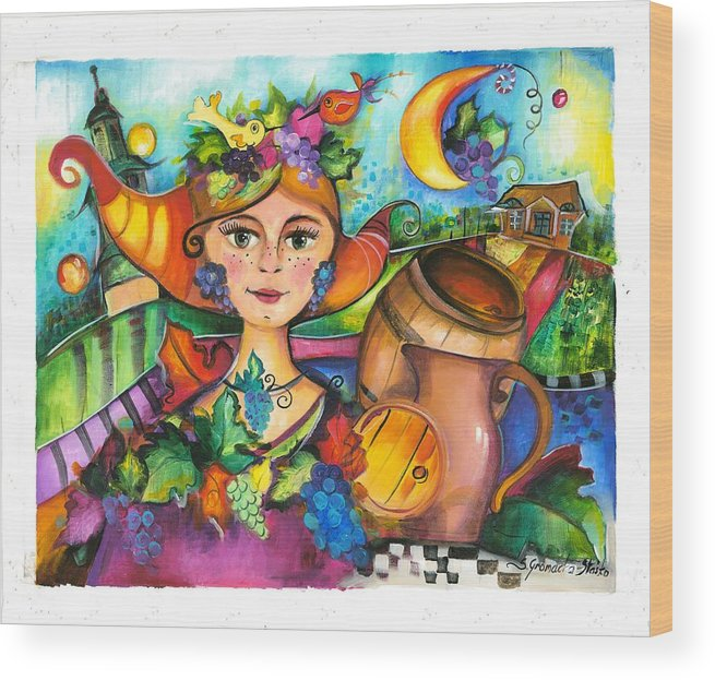 Painting Wood Print featuring the painting Winobranie by Sylwia Gromacka
