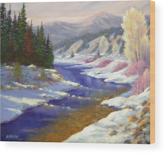 Landscape Wood Print featuring the painting Winter Revisited 070712-97 by Kenneth Shanika
