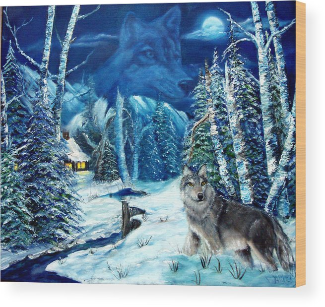 Wolf Wood Print featuring the painting Winters Night 2 by Darlene Green