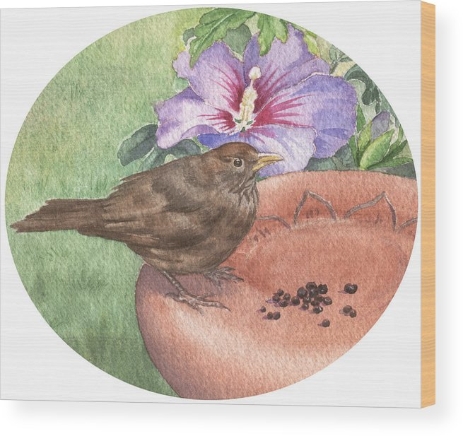Bird. Wildlife Wood Print featuring the painting Young Blackbird After Raisins by Maureen Carter