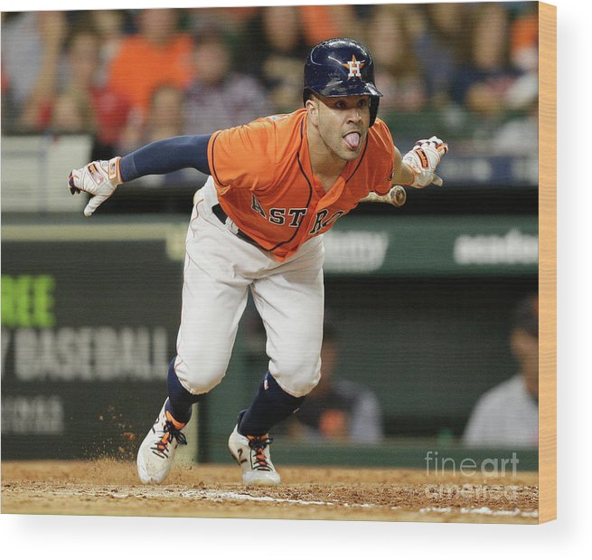 People Wood Print featuring the photograph Detroit Tigers V Houston Astros by Bob Levey