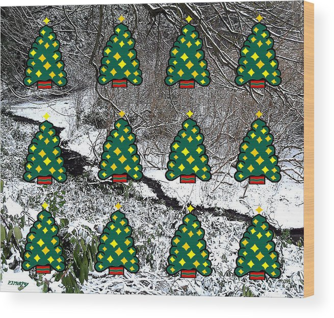 Christmas Wood Print featuring the mixed media Christmas Trees by Patrick J Murphy