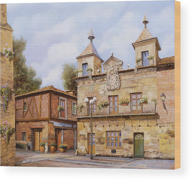 Spain Wood Print featuring the painting Valderas-spain by Guido Borelli