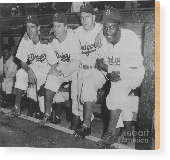 People Wood Print featuring the photograph Jackie Robinson And Pee Wee Reese by National Baseball Hall Of Fame Library