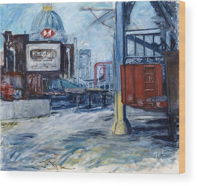 Cityscape Industrial New York Wood Print featuring the painting Williamsburg1 by Joan De Bot