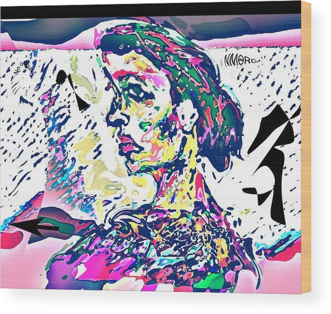 Portrait Wood Print featuring the mixed media Badrya by Noredin Morgan