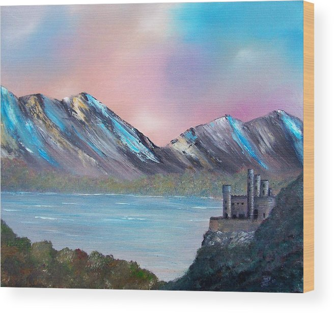 Landscape Wood Print featuring the painting Castle Landscape by Tony Rodriguez
