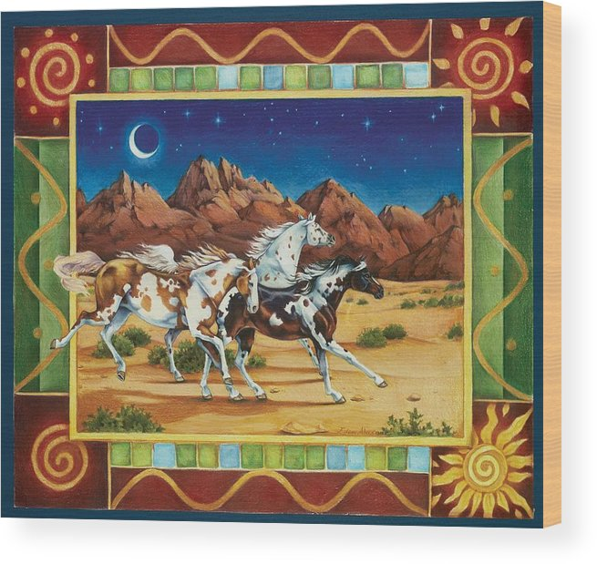Horses Wood Print featuring the painting Three To Midnight by Eden Alvernaz