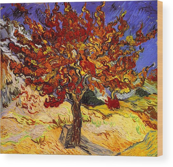 Vincent Van Gogh Wood Print featuring the painting Mulberry Tree by Vincent Van Gogh