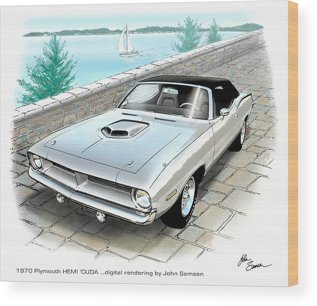 1970 Hemi Cuda Plymouth Muscle Car Sketch Rendering Wood Print By
