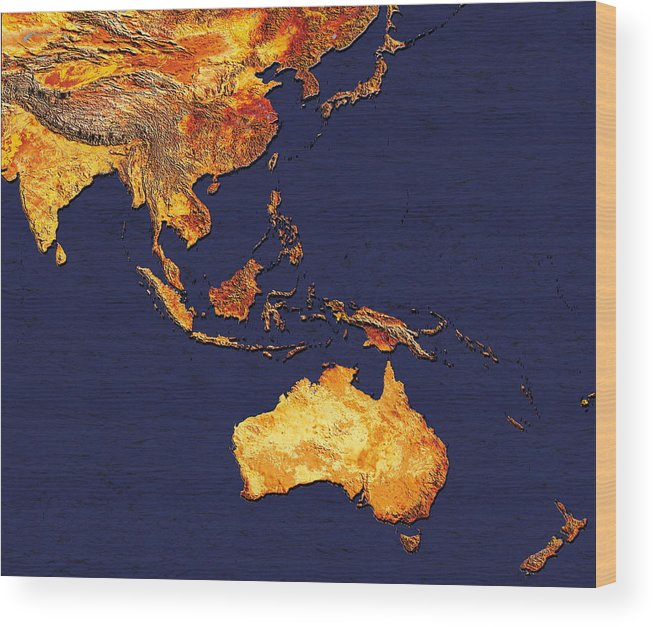 Australia Wood Print featuring the photograph Australasia And South-eastern Asia by Dynamic Earth Imaging/science Photo Library