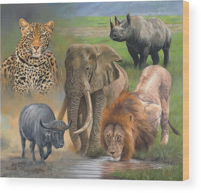 Africa Wood Print featuring the painting Africa's Big Five by David Stribbling