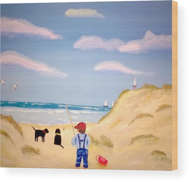 Beach Wood Print featuring the painting Boys At Sea by Aat Kuijpers