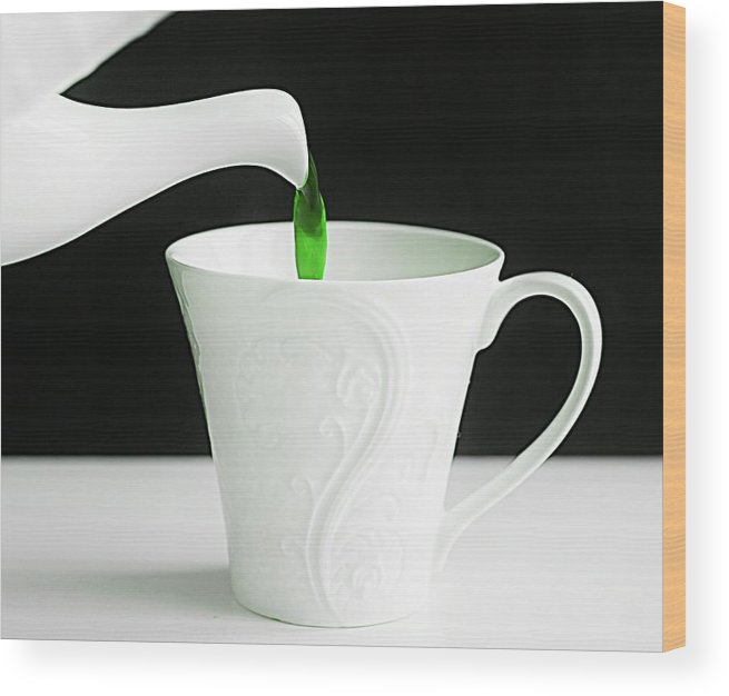 Tea Wood Print featuring the photograph Green Tea by Anne Costello
