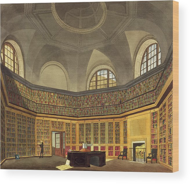Interior Wood Print featuring the drawing The Kings Library by James Stephanoff
