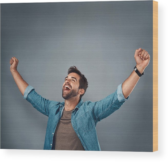 Young Men Wood Print featuring the photograph The Moment I've Been Waiting For! by PeopleImages